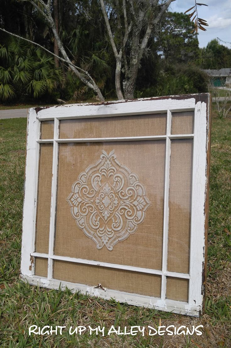 Old window,damask stencil,burlap window,Shabby chic, Custom Order,nine pain, faux etched window, wall decor,stenciled window,unique,SOLD by RightUpMyAlleyDesign on Etsy