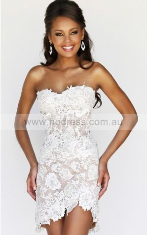 Sheath Strapless Natural Sleeveless Short Formal Dresses p140903