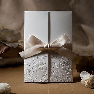 Pretty Ivory Tri-Fold Birds & Butterflies Embossed Vertical Wedding Invitations,
