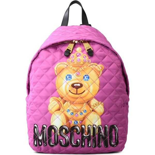 Moschino Rucksack ($495) ❤ liked on Polyvore featuring bags, backpacks, fuchsia, multi color backpack, multi coloured bags, backpack bags, pink backpack and multicolor bag