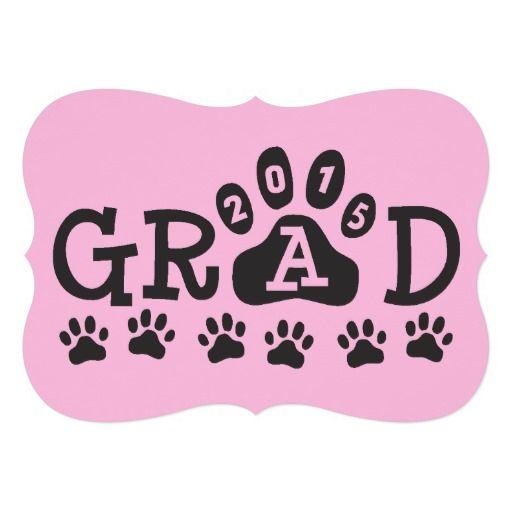 129 best pink graduation invitations images on pinterest grad 2015 invitations pink black paws graduation filmwisefo Images
