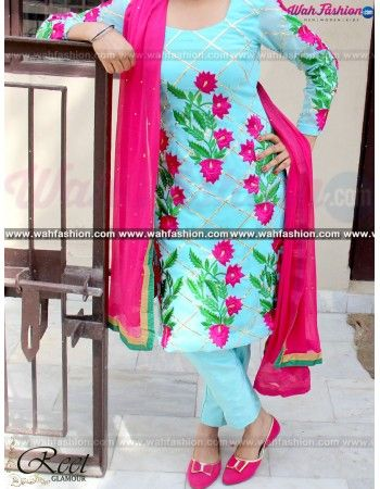 Give yourself a stylish & punjabi look with this Enthralling Blue And Magenta Embroidery Suit. Embellished with lace work. Available with matching bottom & dupatta. It will make you noticable in special gathering. For more details Whatsapp us on +919915178418