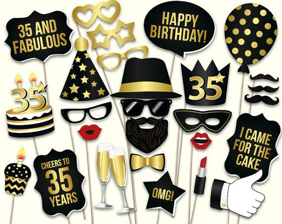 35th birthday photo booth props: printable PDF. by HatAcrobat