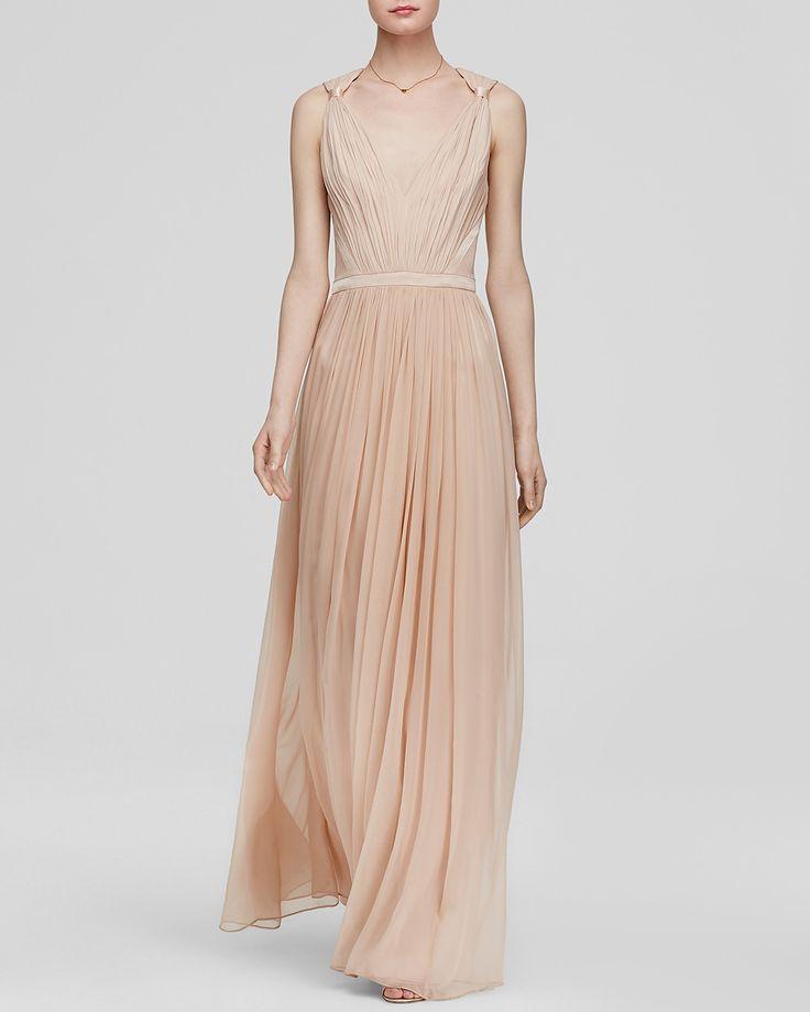 Vera wang gown v neck chiffon bloomingdale 39 s 340 for Vera wang v neck wedding dress