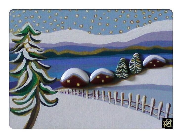Paesaggio innevato -Painted Stones di Rosaria Gagliardi