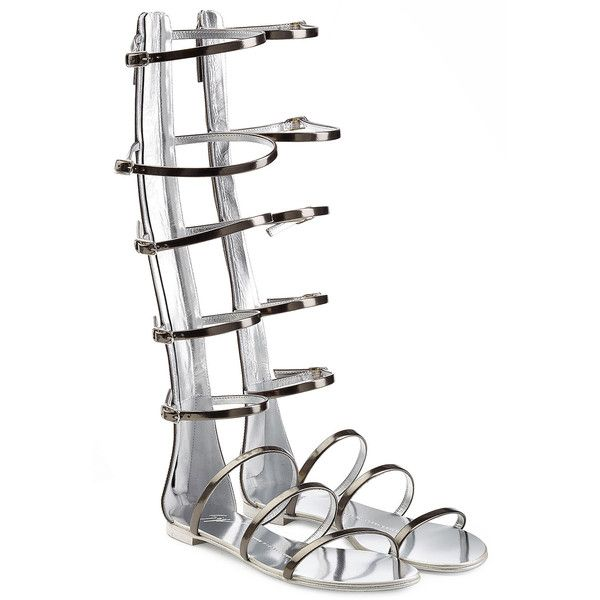 Giuseppe Zanotti Metallic Leather Gladiator Sandals ($430) ❤ liked on Polyvore featuring shoes, sandals, flats, grey, leather gladiator sandals, grey flats, leather sandals, flat shoes and t-strap flats