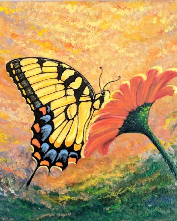 Insect Painting Flower Butterfly Painting Daisy Painting Butterfly Painting Tiger Swallowtail Butterfly Watercolor Butterfly Art Print