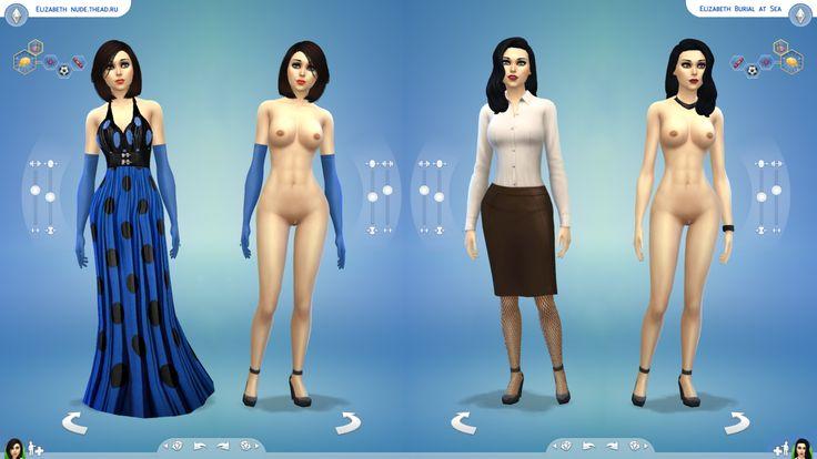 The Sims 4: голая Элизабет из игры BioShock Infinite и дополнения BioShock Infinite: Burial at Sea