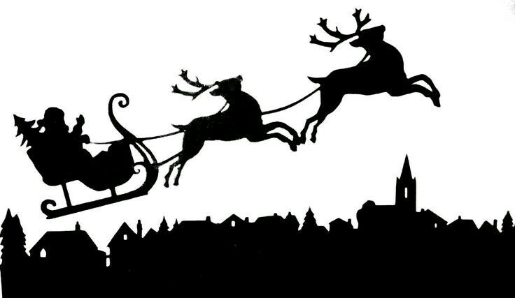 Christmas Series One Reindeer Silhouette Santa And Reindeer Christmas Graphics