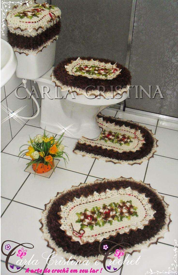Carla Cristina & Crochet: Jogo de Banheiro Oval Felpudo