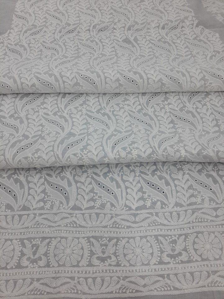 Lucknowi Chikankari Online Kurta Length White on White Cotton with very fine chikankari murri, shadow, applique ( daraz ) & holes work with designer daaman & bootis on back