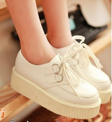 Cute all white creepers! Would love to see something like this in Pink or Turquoise.     New Fashion Women's Lace Up Punk Goth Platform Flat Creeper Shoes 5 9 | eBay