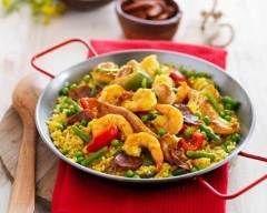 Poêlée de crevettes et poulet aux petits légumes façon paëlla (facile, rapide) - Une recette CuisineAZ