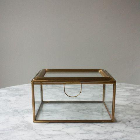 glass jewellery box with brass trim