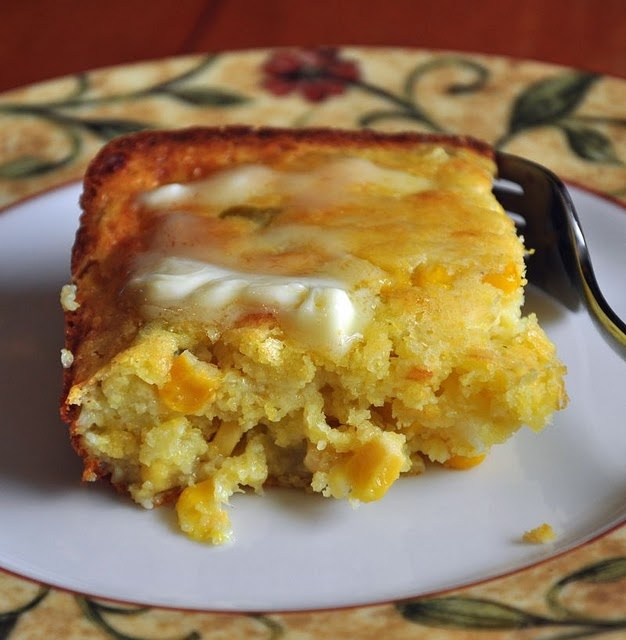 MEXICAN CORNBREAD Ingredients: -4 eggs, beaten -1/2 cup melted butter -3/4 cup small curd cottage cheese -1 (8.5-ounce) box Jiffy corn muffin mix -1/4 cup milk -1 medium chopped onion -1 cup shredded Monterey jack, cheddar or pepper jack cheese -1 (7-ounce) can diced green chiles -1 (14-ounce) can corn, drained (not creamed corn)