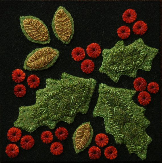 Wool applique PATTERN Holly 6x6 block 1 of by HorseAndBuggyCountry