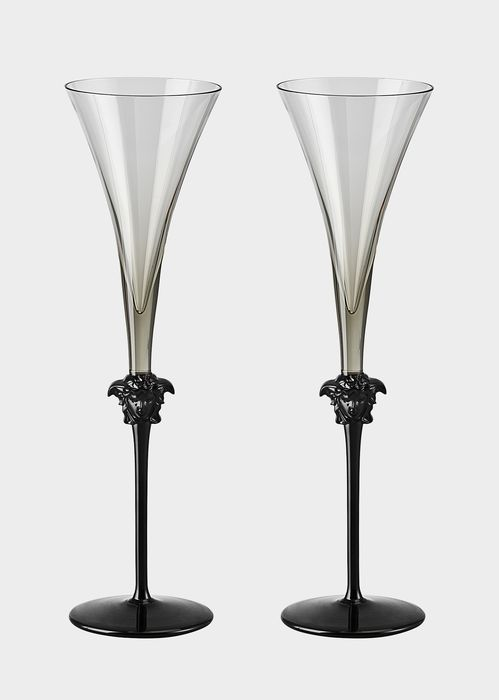 Versace Medusa Lumière Haze Champagne Set - Home Collection | US Online Store. Medusa Lumière Haze Champagne Set by Versace Home. The  head of Medusa and the long stem bestow elegance to the glasses