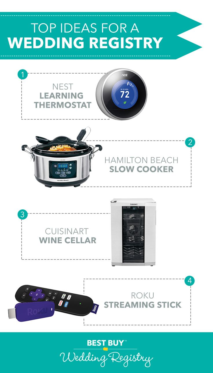 We've put together something we think you'll like. Comb through our top registry picks list to get some modern ideas for what you'll want as you start married life. From blenders to Roku Streaming Sticks, we've got something on that list for everyone. See them all on the Best Buy™ Wedding Registry.