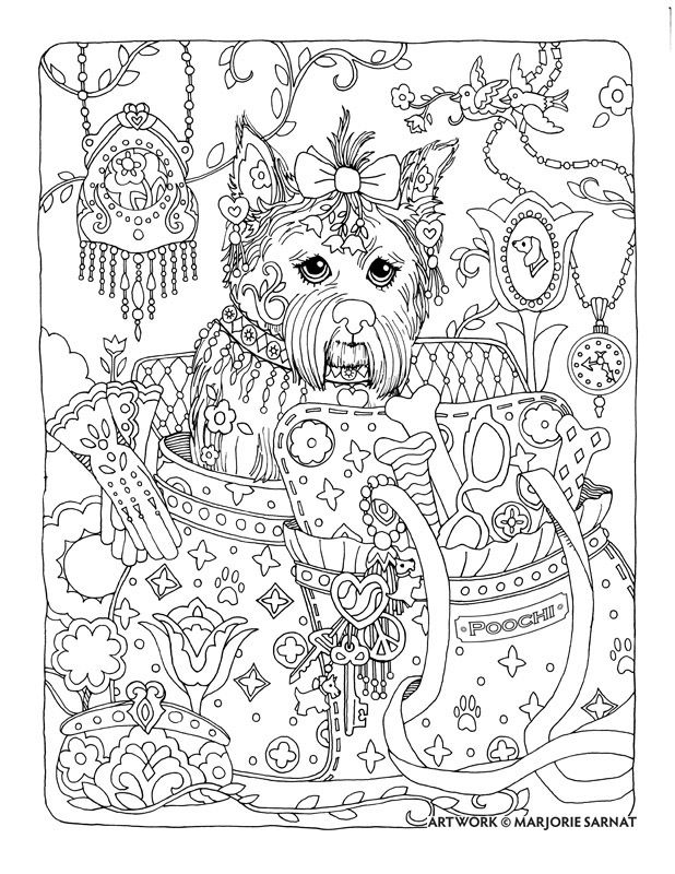 creative haven dazzling dogs coloring book by marjorie sarnat poochi
