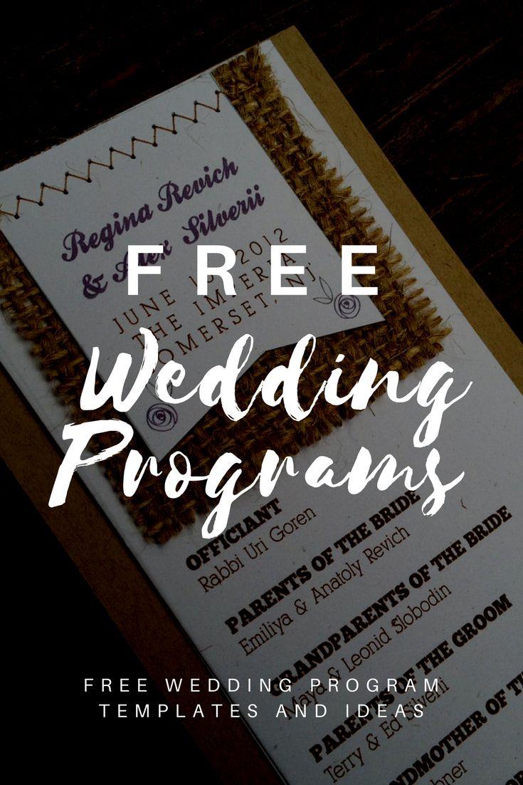 Free Wedding Program Templates  Wedding  Wedding program