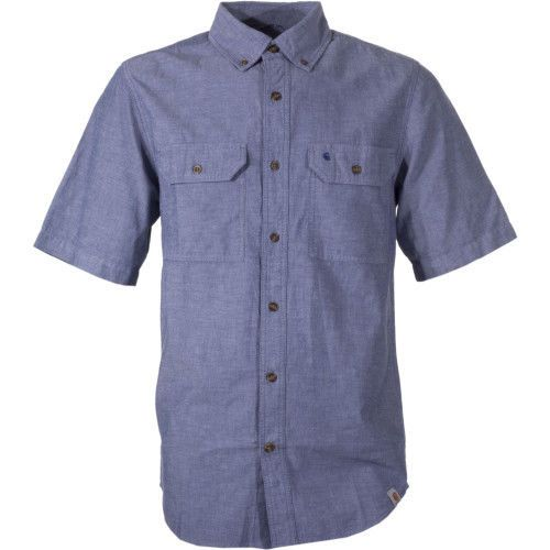 Carhartt Workwear Fort Solid Mens Short Sleeve Shirt Navy All Sizes. 100% ringspun cotton chambray Garment washed for a soft finish and reduced shrinkage Button-down collar Two chest pockets with flaps and button closures Shoulder pleats for ease of movement Triple stitched main seams. | eBay!