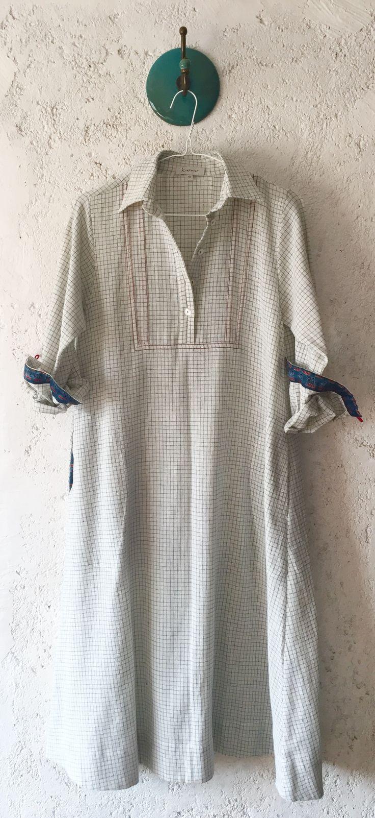 dual yoke shift with block print cuff detail organic indian cotton