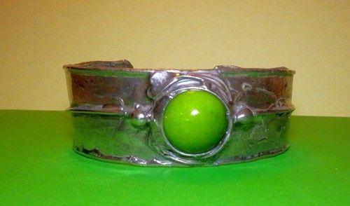 http://megasilver.pl/Bransoleta-p364 #Bracelet #metalwork #handmade #green #howlite #stone #jewelry #jewellery