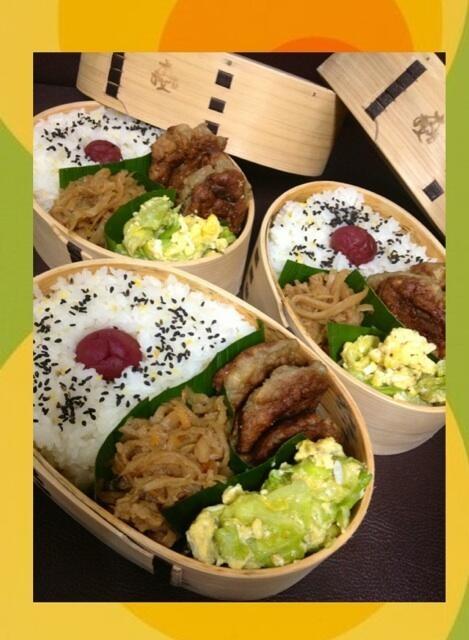 Twitter from @himuka_hanohano 3月最終週☆鰯のおからハンバーグ、春キャベツの玉子とじ、千切り大根で召し上がれ♪ #obentoart