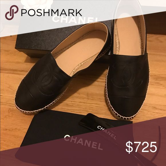 Chanel Espadrilles Lambskin, Black, Size 37 Chanel Espadrilles Lambskin, Black, Size 37 for sale. It's loose on me, I've only worn once, so it's like new with original box. CHANEL Shoes Espadrilles
