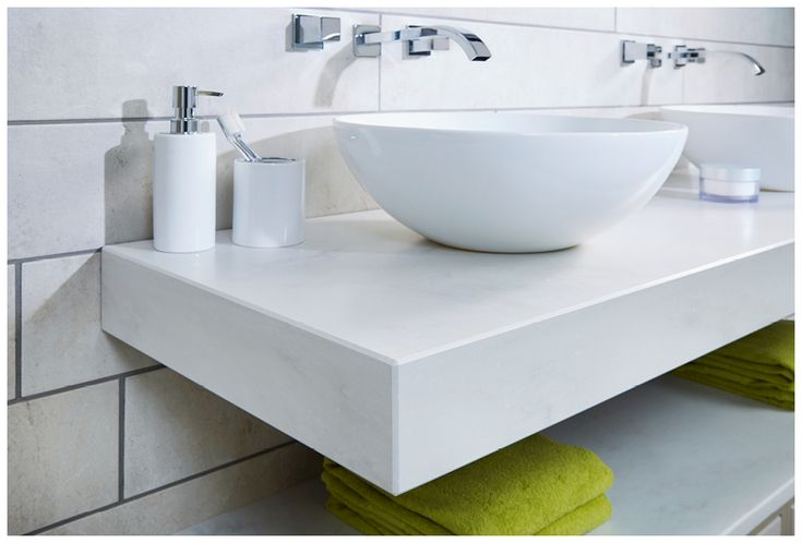 Geo solid surface worktop with twin sit-on basins #bathroomfurniture