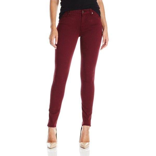 7 For All Mankind Women's Skinny Jean In Dark Ruby Red ($178) ❤ liked on Polyvore featuring jeans, mid-rise jeans, skinny jeans, 7 for all mankind, dark denim skinny jeans and mid rise skinny jeans