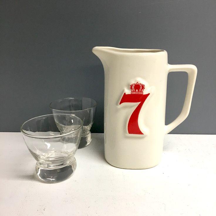 Seagram's 7 advertising whiskey water pitcher - vintage 1970s barware