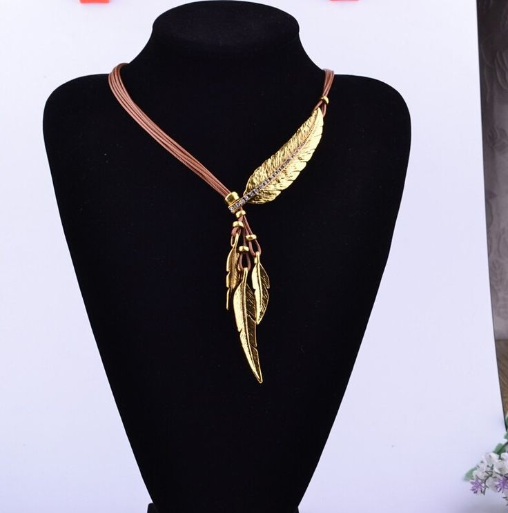 $10 Leather Rope Bohemian Feather Necklace