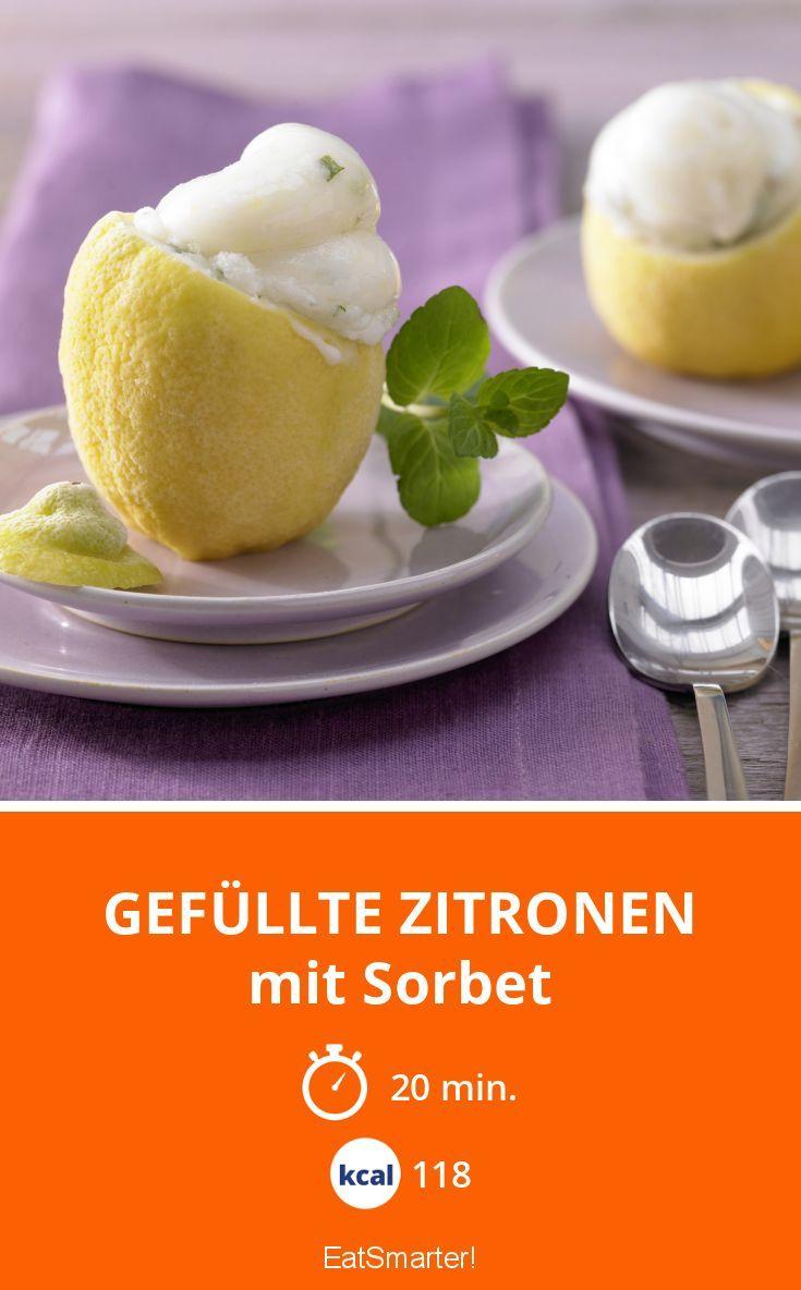 Gefüllte Zitronen - mit Sorbet - smarter - Kalorien: 118 Kcal - Zeit: 20 Min. | eatsmarter.de