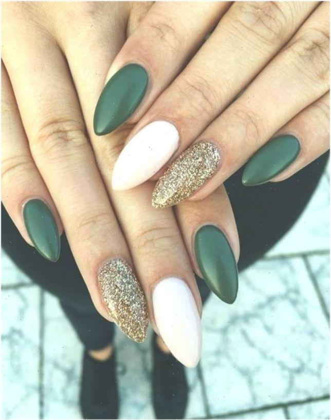 Mix And Match Green Emerald Gold Glitter And White Nails 22 Fall Nail Design Nailart Nailartfall In 2020 Dark Green Nails Almond Acrylic Nails Green Nails