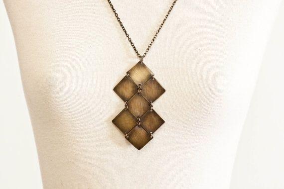 The DominusBrass Diamond Necklace by CSfootprints on Etsy, $50.00Dominusbrass Diamonds, Diamond Necklaces, Diamonds Necklaces