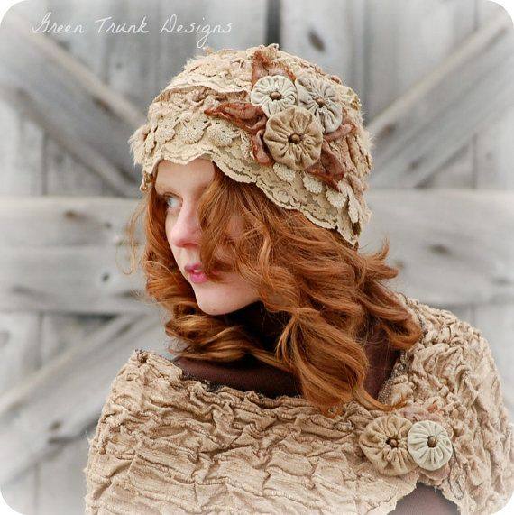 Lichen and Lace Cloche Hat and Shrug Earthy by GreenTrunkDesigns, $305.00