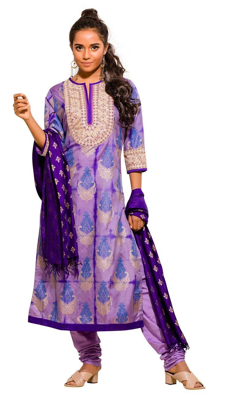 Light Purple Tie-Dyed and Erri Embroidered Silk Shalwar Kameez Set
