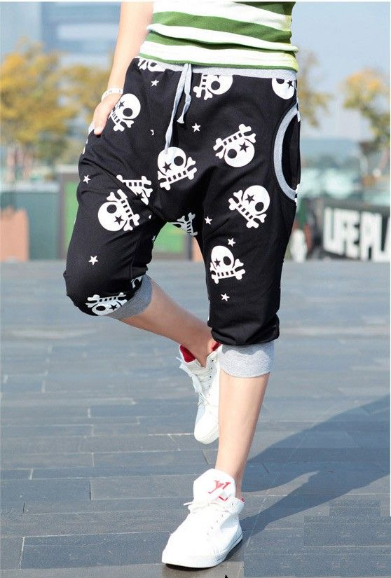$20.69 / Fashion Skull Print Color Block Men Harem Cropped Pants via martEnvy. Click on the image to see more! / FREE SHIPPING