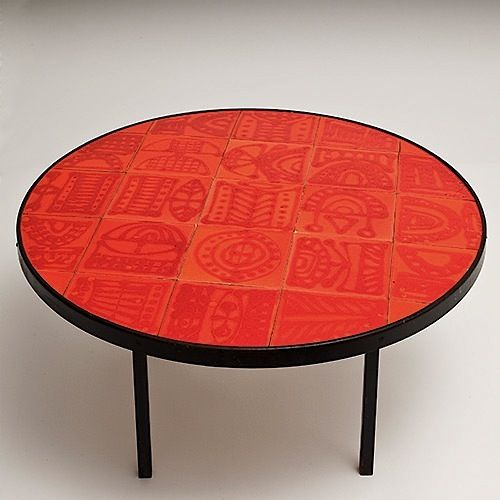 Roger Capron; Glazed Ceramic Tile And Painted Metal Coffee Table For  Vallauris, C1950.