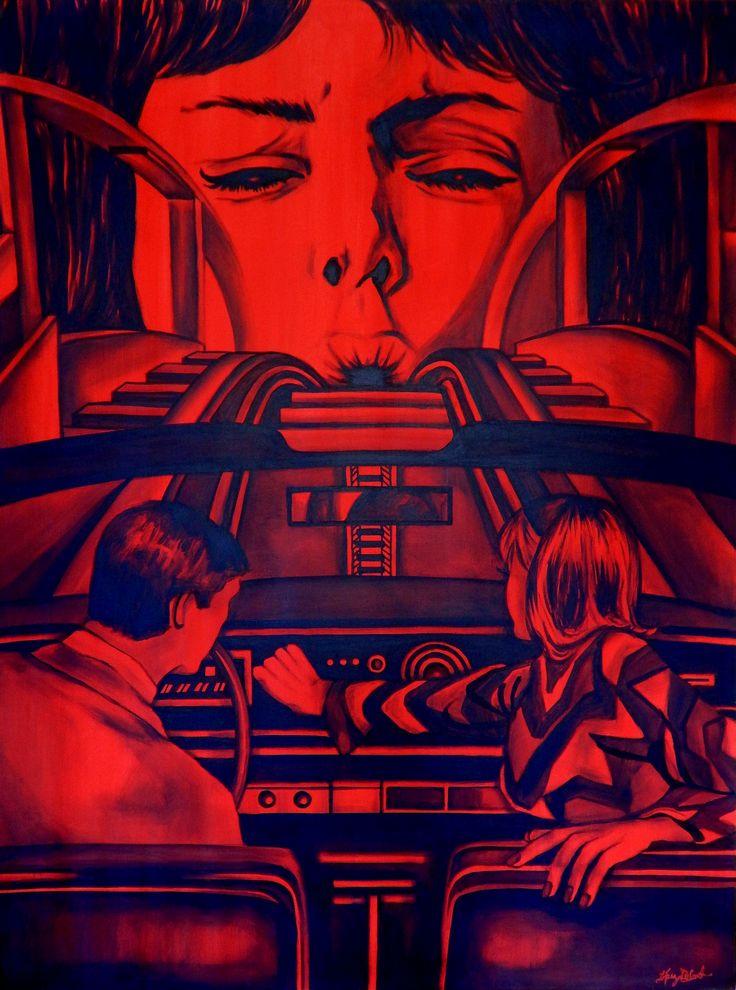 """María Belén López De Carlo, """"Bicromía pictórica (con montaña rusa)"""", 2016, 120x90cm, Acrílico sobre tela. http://lopezdecarlo.weebly.com/ https://www.facebook.com/lopezdecarlo/   #art #paint #painting #acrylicpainting #contemporaryart #surrealism #duotone #bicromia"""