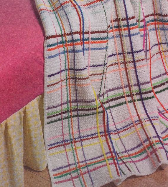 Crochet Pattern Plaid Afghan : Spring Plaid Afghan Crochet Pattern - Rainbow