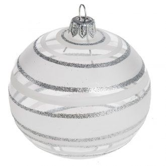 Bauble for Christmas tree in blown glass, silver 8cm