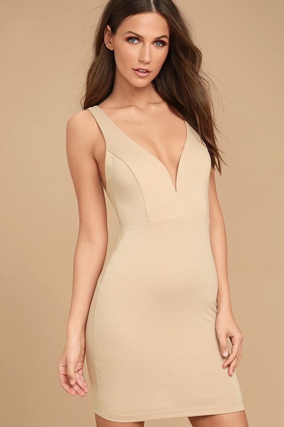 Lulus Exclusive! We dare you to find a dress more perfect than the Perfect Pick Light Beige Bodycon Dress! This sexy number hugs your figure as medium-weight knit forms a deep V-neckline (with hidden V bar), princess-seamed bodice, and a fitted mini skirt for a simply sexy look. Hidden back zipper.