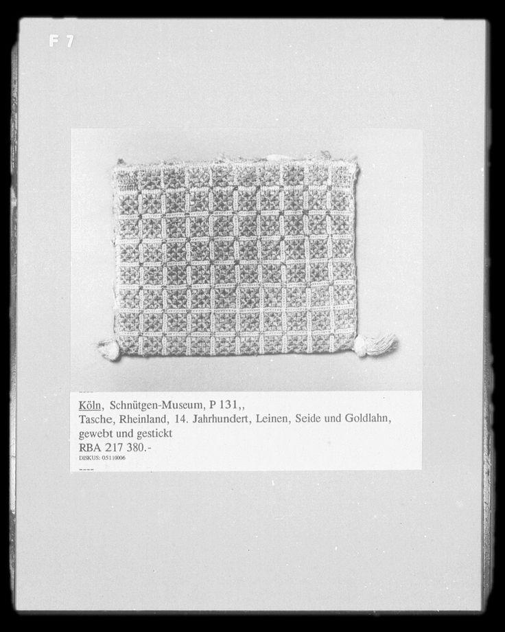 http://www.bildindex.de/bilder/MI11904f07a.jpg. Silk, gold & linen embroidery bag, German, 14th c.