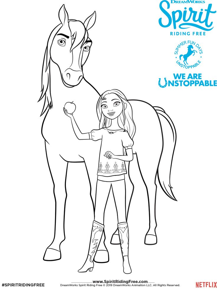 lucky  spirit coloring page  spirit riding free in 2020