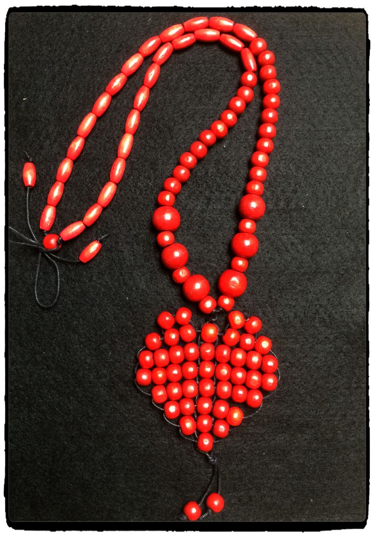 Red wood bead necklace - www.dony-maree.com.au
