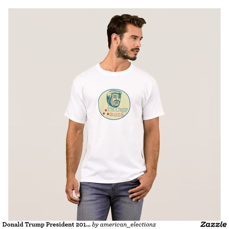 """Donald Trump President 2016 Oval T-Shirt. 2016 American elections men's t-shirt with an illustration showing American real estate magnate, television personality, politician and Republican 2016 presidential candidate Donald John Trump with the words """"Trump 2016."""" #Trump2016 #republican #americanelections #elections #vote2016 #election2016"""