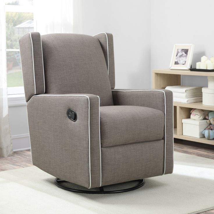 Mon Bebe Everston Wing Back Swivel Glider Recliner, Taupe