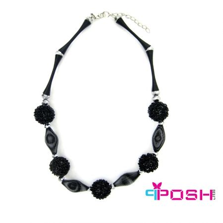 """Vera - Necklace - Stylish chunky necklace with metal beads - Black colour - Dimension: 17.72"""" + 1.97"""" extending chain  POSH by FERI - Passion for Fashion - Luxury fashion jewelry for the designer in you.  #networking #direct #sales #fashion #designer  #brand #onlineshopping #workingfromhome #necklace #accesories"""